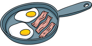 Frying Bacon and Eggs Stock Photos
