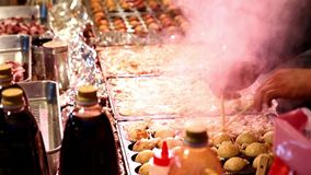 Frying balls in the pan. stock video footage