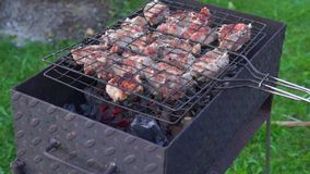 Frying barbeque stock video