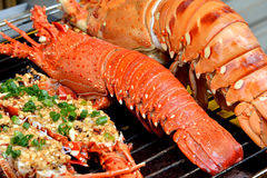 Lobster and toast dishes Stock Photo