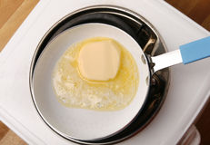 Frying butter melting. In a frying pan Stock Photography