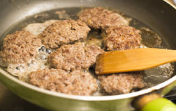 Frying cutlets Stock Photo
