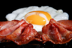 Frying Egg And Two Bacon Rashers Stock Photography