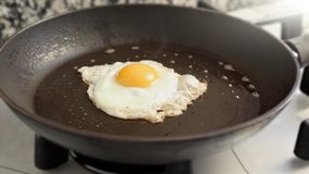 Frying egg in a skillet stock footage