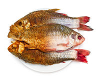 Frying of fish. Half of raw and fried fish on a plate, isolated on white background Royalty Free Stock Photos