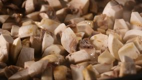 Frying fresh raw brown mushrooms in pan stock footage