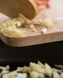 Frying Garlic Indicates Prepare Food And Cooking Royalty Free Stock Photo
