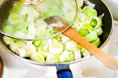 Frying leek Royalty Free Stock Photo