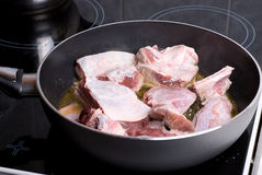 Frying meat Stock Photography