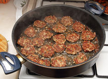 Frying meatballs Royalty Free Stock Image