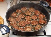 Frying meatballs Royalty Free Stock Image