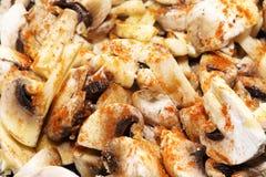Frying mushrooms Royalty Free Stock Photos