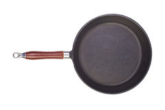 Frying pan. A cast-iron frying pan on a white background Stock Photography