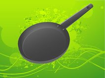 Frying pan. On grungy swirly background Royalty Free Stock Photography