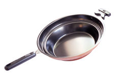 Frying pan. The metal pan with teflon coating. An isolated object. White background. Canon5D Stock Photo