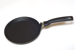 Frying pan black for pancakes Stock Photo