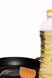 Frying pan bottles of sunflower oil Royalty Free Stock Image