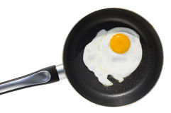 Frying pan with breakfast. Isolated Frying pan with breakfast stock photo