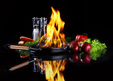 Frying pan with burning fire inside Stock Image
