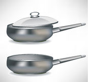 Frying pan with/without cap Stock Image