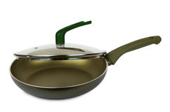 Frying pan with ceramic coating and glass lid Stock Image