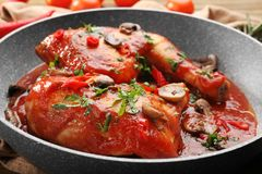 Frying pan with chicken cacciatore Stock Photo