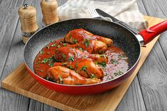 Frying pan with chicken cacciatore Royalty Free Stock Photo