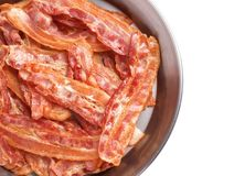 Frying pan with cooked bacon rashers on background. Frying pan with cooked bacon rashers on white background Royalty Free Stock Photography