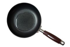 Frying pan with cooking oil. Isolated on white background Stock Photos