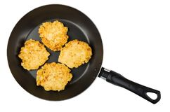Frying pan with cottage cheese pancakes isolated on white backgr. Ound. Top view Stock Photos