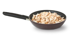 Frying Pan with the cut champignons Stock Photography