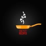 Frying pan design menu background Stock Photos