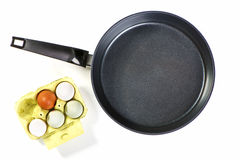 Frying pan with egg Royalty Free Stock Images