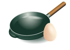 Frying pan and egg Stock Photos