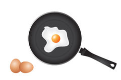 Frying pan and eggs Royalty Free Stock Images