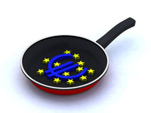 Frying pan euro Stock Images