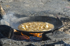Frying pan with fish Royalty Free Stock Images