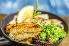 Frying pan with fish, lemon and herbs Stock Images