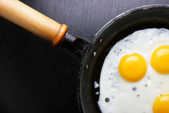 Frying pan with fried eggs Stock Photos