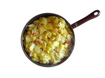 Frying pan with Fried Potatoes royalty free stock photo