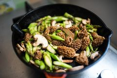 Frying pan full of morels and asparagus Royalty Free Stock Images