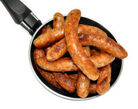 Frying Pan Full Of Sausages Stock Images