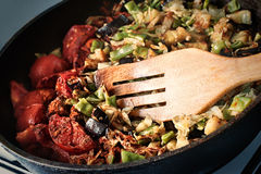 Frying pan full of vegetables Stock Photography