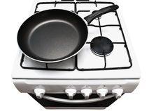 Frying pan at the gas stove Stock Photography