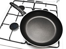 Frying pan at gas stove Royalty Free Stock Image