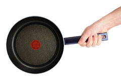 Frying pan in hand Royalty Free Stock Photo