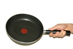 Frying pan in hand Royalty Free Stock Image