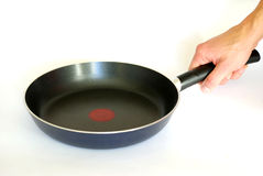 Frying pan in hand Royalty Free Stock Photography