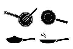 Frying pan icon. Vector icon pans. Frying pan icon. Set of vector icon pans in style of flat design Royalty Free Stock Image