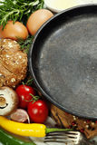 Frying pan and ingredients Stock Photo